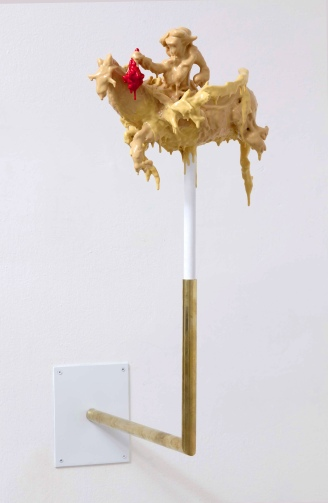 2011. Wood, clay, pigmented silicone, brass, wire. 70 x 50 x 34cm £1200 (sold)