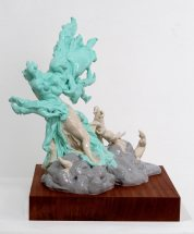 2010. Reinforced & air-drying clay, pigmented silicone, wood, wire, sapele, 56 x 45 x 50cm £3000