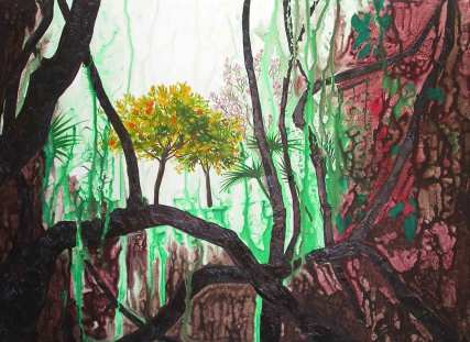 The Garden. 2005. Oil and acrylic on canvas. 90 x 140cm, (sold)